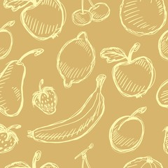Seamless fruit hand drawn pattern with apple, cherry, lemon, banana, strawberry, plum, pear, peach, orange. Vintage boho background texture. Good for menu and food package