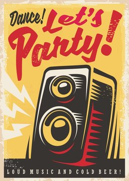 Party invitation retro poster design template with loud speaker and creative lettering