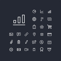 Column chart icon in set on the black background. Universal linear icons to use in web and mobile app.