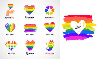Gay, LGBT collection of symbols, icons and logos with rainbow, heart hands
