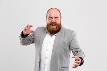 Screaming, furious man with beard