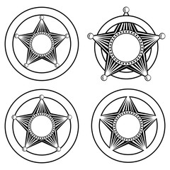 five pointed sheriffs star in circle set