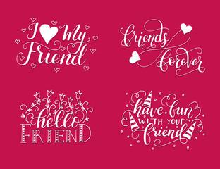 Vector lettering set for friendship day.