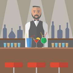 Barman in the bar. Vector illustration