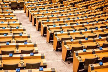 Interior of the meeting room of the European parliament in Brussels, Belgium Fotomurales