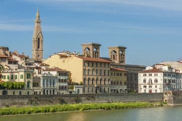 Fototapete - Embankment of the River Arno in City Florence, Tuscany, Italy