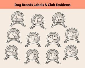 Set of Dog Breeds Labels, Dog Clubs Emblems. Profile Silhouette Dog Faces.Setter, Labrador, Retriever, Jack Russel Terrier, Bernese, French Bulldog, Basset Hound, Chihuahua, Husky, Beagle, Dachshund