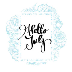 Hello july lettering print summer minimalistic isolated calligraphy on white