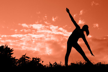 Yoga woman silhouette.