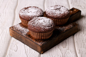 Homemade delicious chocolate muffins close-up