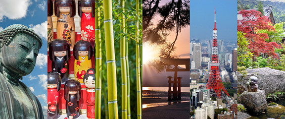 Foto auf Gartenposter Japan Japan, panoramic photo collage, japanese symbols, Japan travel and tourism concept