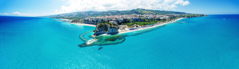 Tropea, Calabria. Panoramic aerail view of Santa Maria dell'Isola Monastery and wonderful coastline