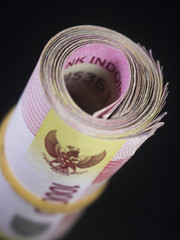 roll of rupiah money indonesia currency cash finance