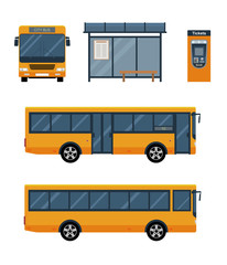 Flat style concept of public transport. Set of city bus with front and side view, bus stop and ticket machine. Isolated vector illustration.