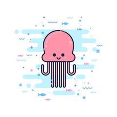 Cute cartoon octopus character
