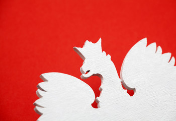 Polish coat of arms on red background