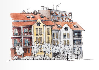 European urban landscape. European town with old and modern houses. Urban view. Watercolor illustration. Sketch
