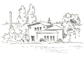 House on river. Nature landscape. Cottage on lake bank in forest. Ink sketch