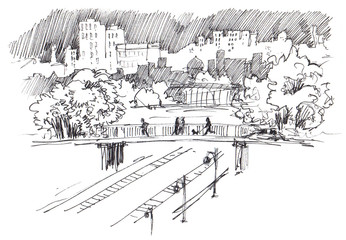 Urban landscape. Urban view. Modern sity with high-rise buildings, parks, railroad bridge and railway. Ink sketch