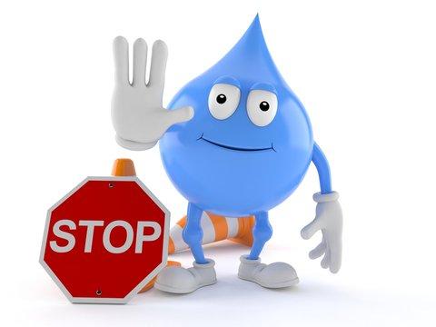 Water drop character making stop gesture