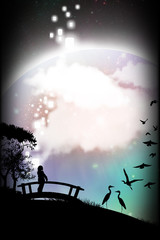 Japanese festivals and celebrations silhouette art photo manipulation
