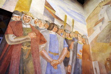 Christopher Columbus in the monastery of La Rabida, Spain