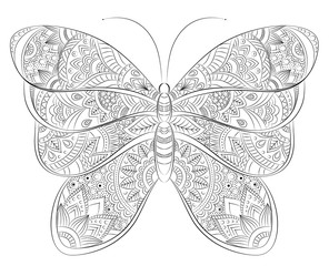 Vector doodle zentangle butterfly banner. Wish, congratulations, postcard. Template for printing, web design, poster, banner, flyer. Adult anti stress printable coloring book page
