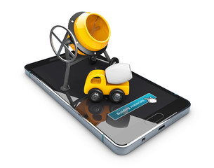 3d Illustration of Yellow concrete mixer on phone screen. isolated white