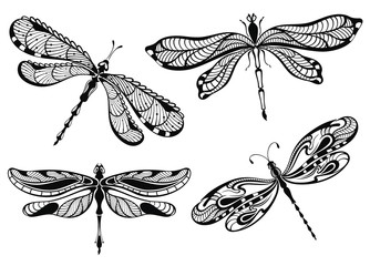 Decorative dragonflies set