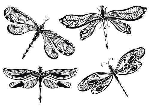 Decorative dragonflies set