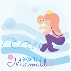 Cute little mermaid girl looking at the mirror vector illustration. Baby fashion design.