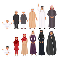 Men and women traditioanal arabic clothes for all ages