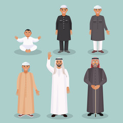 Arabic men generations from kid to old person