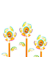three pencil flowers