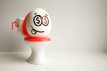 Concept of bankrupt business An egg with a painted