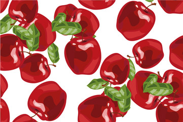 Seamless background with red apples and leaves. Vector illustration