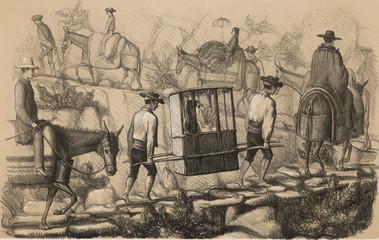 Pilgrim in Sedan Chair. Date: circa 1850