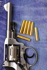 Nagant revolver with cartridges