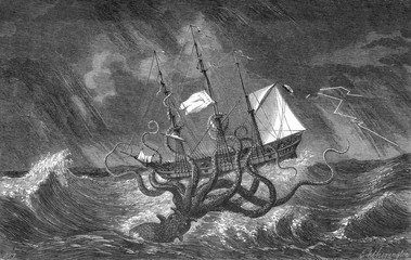 Kraken attacking ship during a storm. Date: circa 1700