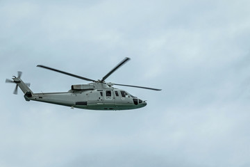 Military navy helicopter in the sky