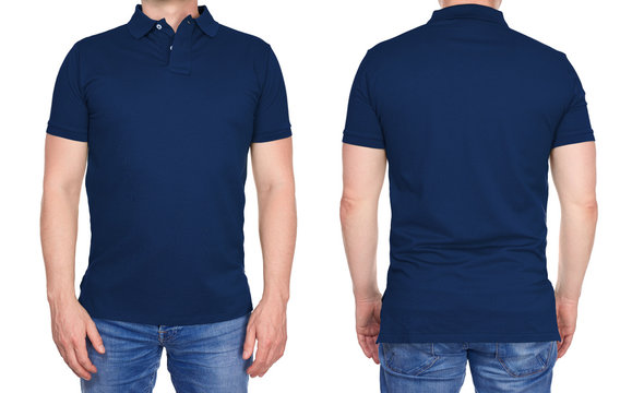 T-shirt design - young man in blank dark blue polo shirt from front and rear isolated