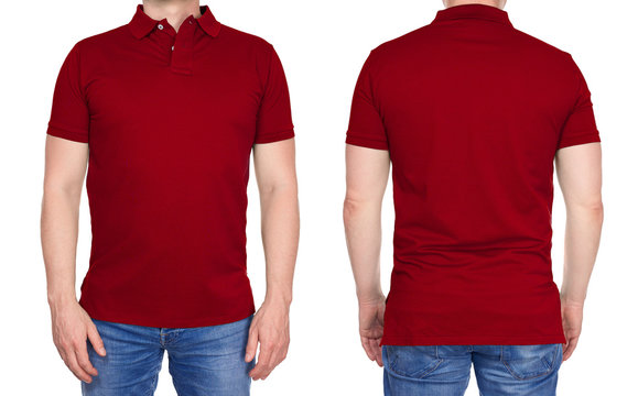 T-shirt design - young man in blank dark red polo shirt from front and rear isolated