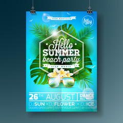 Vector Summer Beach Party Flyer Design with typographic design on nature background with palm trees and sunglasses