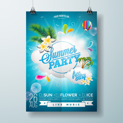 Vector Summer Beach Party Flyer Design with typographic design on nature background with  cloud and air balloon.