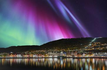 Bergen Stadt Norwegen Bryggen Nordlicht