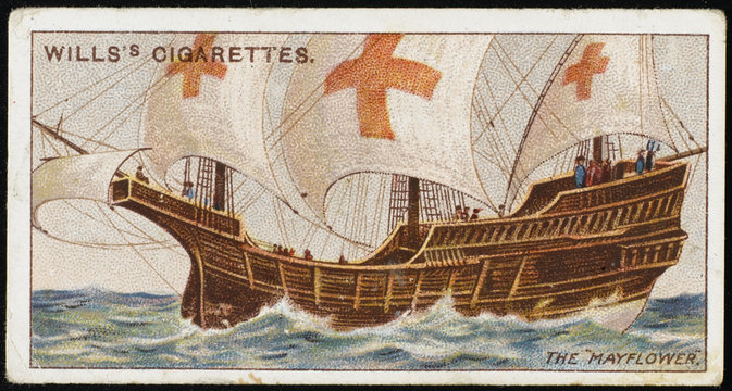The Mayflower: transporting Pilgrim Fathers to New World. Date: 1620