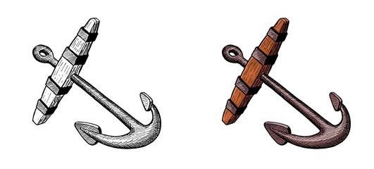 old anchor for sailing ship, hand ink drawing, vector illustration