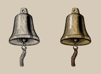 ship bell, hand ink drawing, vector illustration