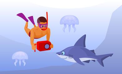 free diver with waterproof camera underwater, cartoon vector