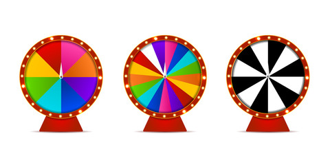 Vector set of isolated realistic fortune roulette wheels on the white background. Concept of casino, spin, lottery and winning.